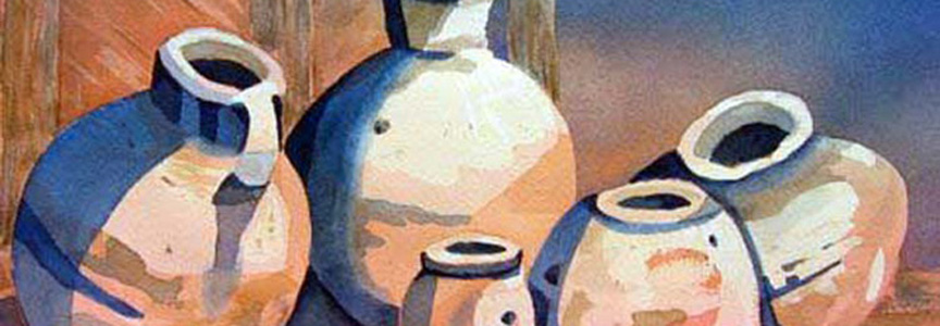 "Title: ""5 Mexican Pots"" Media: Watercolor Size: 16x20"
